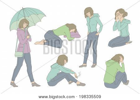 Vector colored set sketch illustration sad girl teen. Young woman in depression crying, pining and sadly smoke. Unhappy in bad mood walking with umbrella under the rain. Outline drawing graphic art.
