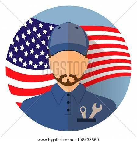 Avatar. Labor day, September 7, in the United States of America, American design, labor day. Logo worker in overalls man. Labor day poster design. Stock vector.