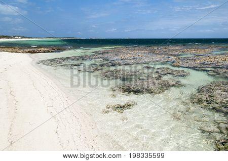 Wild and empty beach on Grand Turk island (Turks and Caicos Islands).