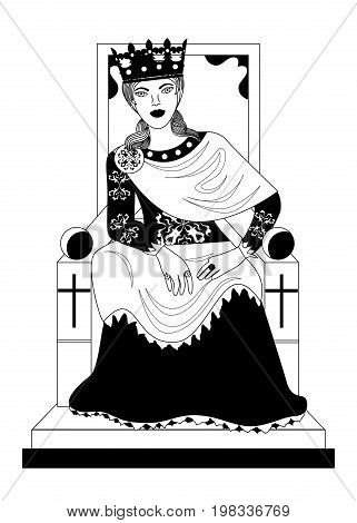 the illustration - with portrait of woman - empress.