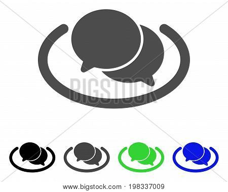 Chat flat vector illustration. Colored chat, gray, black, blue, green pictogram variants. Flat icon style for graphic design.