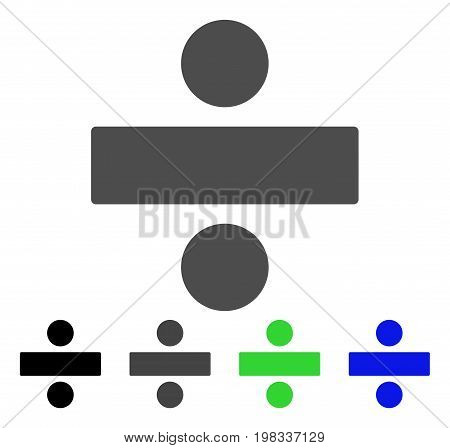Divide Math Operation flat vector pictograph. Colored divide math operation, gray, black, blue, green pictogram variants. Flat icon style for application design.