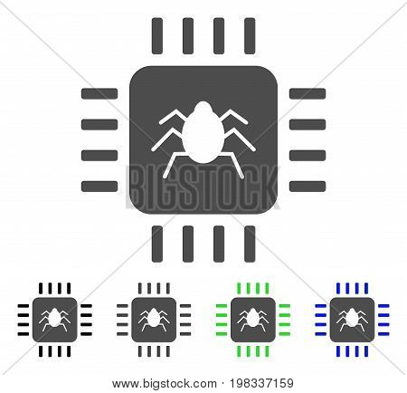 Hardware Bug flat vector pictogram. Colored hardware bug, gray, black, blue, green pictogram versions. Flat icon style for graphic design.