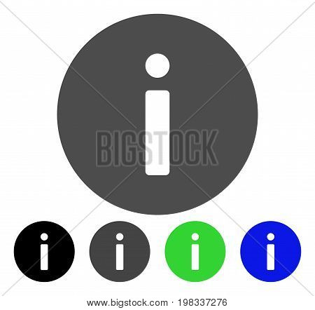 Info flat vector icon. Colored info, gray, black, blue, green icon versions. Flat icon style for web design.
