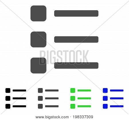 Items flat vector icon. Colored items, gray, black, blue, green pictogram variants. Flat icon style for application design.