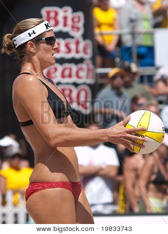 HERMOSA BEACH, CA. - AUGUST 8: Jen Kessy and April Ross vs. Nicole Branagh (pictured) and Elaine Youngs for the womens final of the AVP Hermosa Beach Open. August 8, 2009 in Hermosa Beach.