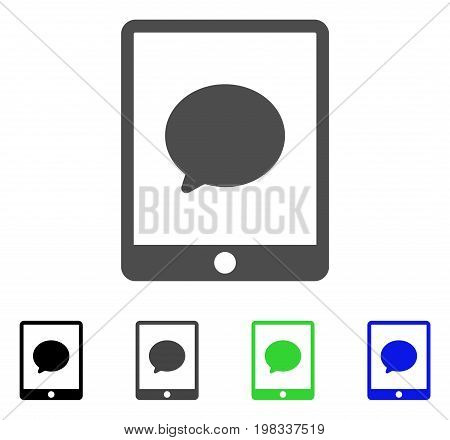 Pad Chat Message flat vector pictogram. Colored pad chat message, gray, black, blue, green icon versions. Flat icon style for web design.