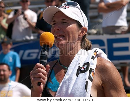 HERMOSA BEACH, CA. - AUGUST 8: Elaine Youngs giving a speach after winning the womens final of the AVP Hermosa Beach Open. August 8, 2009 in Hermosa Beach.