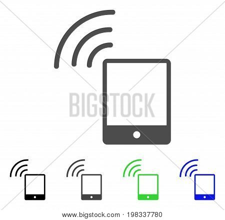 Smartphone Wi-Fi Signal flat vector illustration. Colored smartphone wi-fi signal, gray, black, blue, green icon versions. Flat icon style for graphic design.