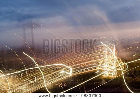 Light trail in the city at sunset