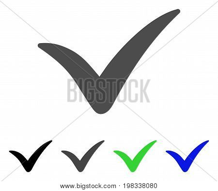 Yes flat vector illustration. Colored yes, gray, black, blue, green icon versions. Flat icon style for application design.