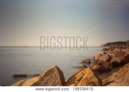 View of Trieste sea. Photo taken with long exposition