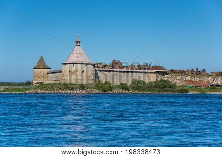 Oreshek fortress is situated on the small Orekhovy Island in the River Neva's outflow from Lake Ladoga Leningrad region Russia poster
