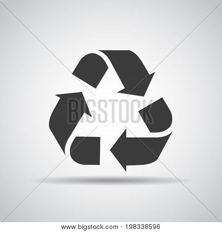 Recycle icon with shadow on a gray background. Vector illustration