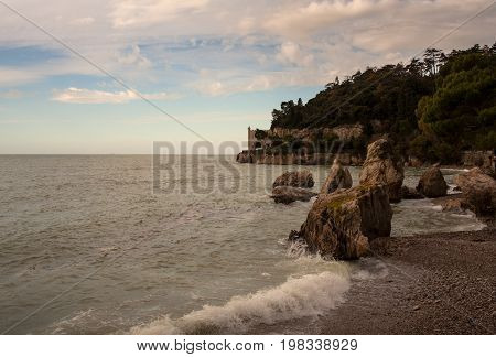 View of the Trieste sea Miramare castle on background