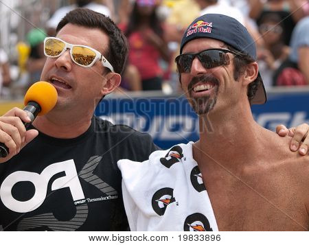 HERMOSA BEACH, CA. - AUGUST 9: Todd Rogers being interviewed after winning the mens final of the AVP Hermosa Beach Open. August 9, 2009 in Hermosa Beach.