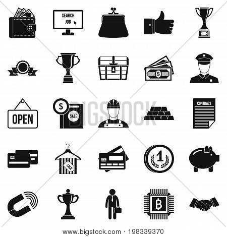 Cost icons set. Simple set of 25 cost vector icons for web isolated on white background
