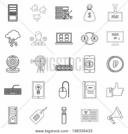 Bank clerk icons set. Outline set of 25 bank clerk vector icons for web isolated on white background
