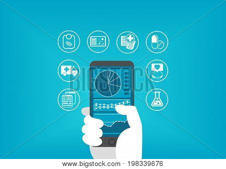 Electronic healthcare concept with hand holding smart phone to access digital medical records of patients