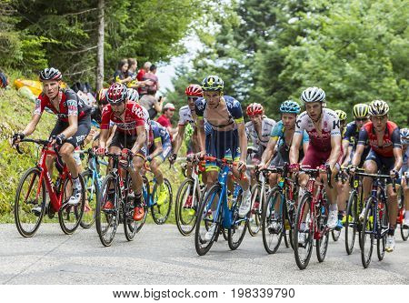Mont du Chat France - July 9 2017: The peloton climbing the road on Mont du Chat during the stage 9 of Tour de France 2017.