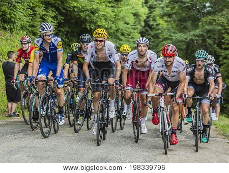Mont du Chat France - July 9 2017: The peloton (gruppetto) climbing the road on Mont du Chat during the stage 9 of Tour de France 2017.