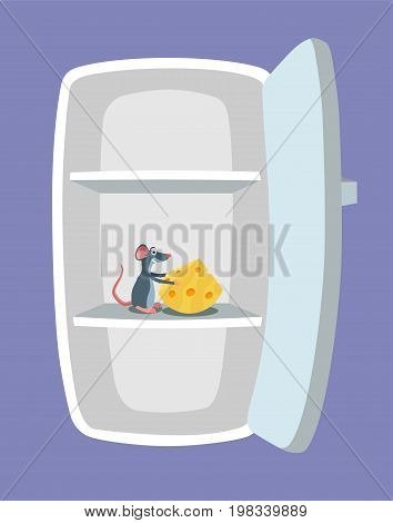 Empty fridge and mouse with cheese inside it. Nasty rat rodent eating foot in the refrigerator. Rodent concept. Cartoon style. Vector illustration.