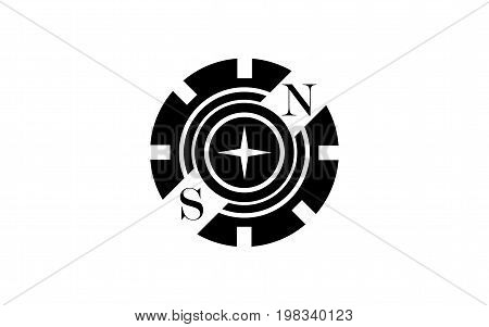 Vector illustration black logo in the form of a partial gear with circle in the center with a four-pointed star and letters North and South on a diagonal on a white background.