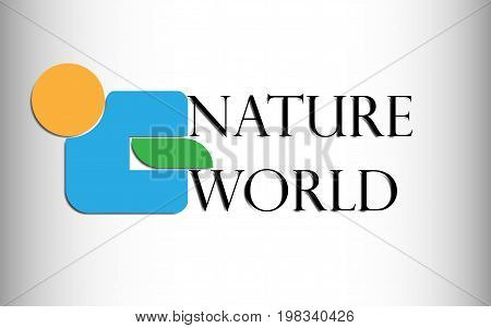 Vector illustration abstract logo of an orange circle a blue figure and an abstract green leaf with the inscription nature and the world with a shadow from them on a gradient on white to gray on the edges.