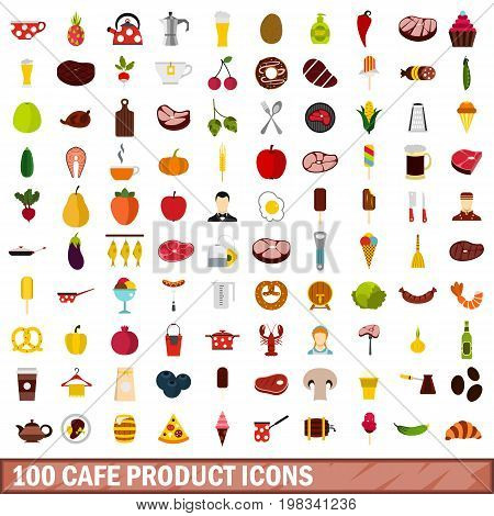 100 cafe product icons set in flat style for any design vector illustration