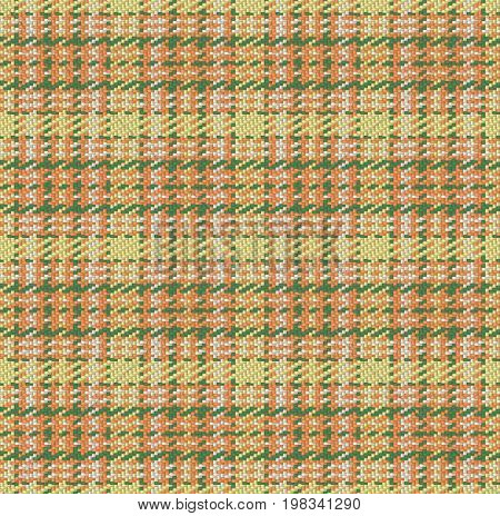 Checked material pattern, tartan and plaid fabric background, orange, green and yellow seamless vector