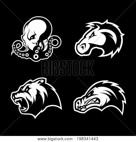 Furious octopus, bear, alligator and horse head sport vector logo concept set isolated on black background.  Modern team badge design. Premium quality wild animal t-shirt tee print illustration.