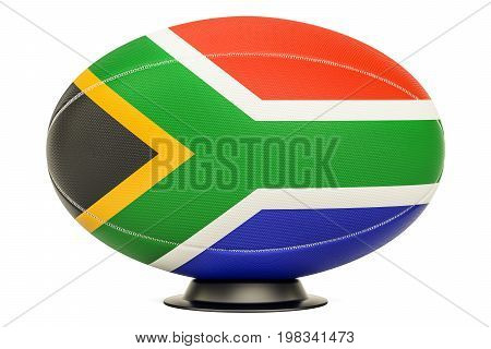 Rugby Ball with flag of South Africa 3D rendering isolated on white background
