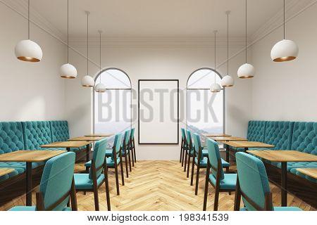 Blue Green Cafe Interior, Poster