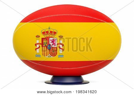 Rugby Ball with flag of Spain 3D rendering isolated on white background