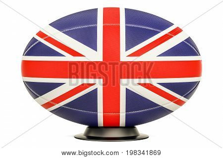 Rugby Ball with flag of UK 3D rendering isolated on white background