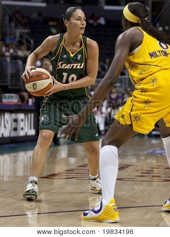 LOS ANGELES, CA. - SEPTEMBER 16: Sue Bird in action during the WNBA playoff game of the Sparks vs. Storm on September 16, 2009 in Los Angeles.