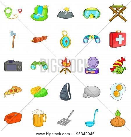 Campsite icons set. Cartoon set of 25 campsite vector icons for web isolated on white background