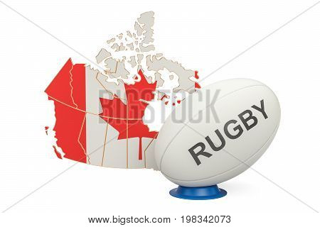 Rugby Ball with map of Canada 3D rendering
