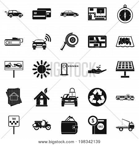 Mechanism icons set. Simple set of 25 mechanism vector icons for web isolated on white background