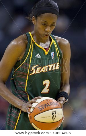 LOS ANGELES, CA. - SEPTEMBER 16: Swin Cash about to take a free throw shot during the WNBA playoff game of the Sparks vs. Storm on September 16, 2009 in Los Angeles.