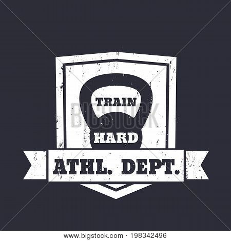 Athletic department emblem, sign with kettlebell, eps 10 file, easy to edit