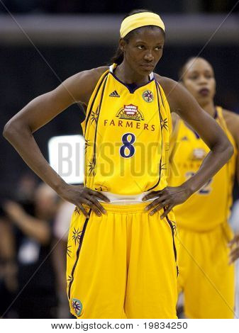 LOS ANGELES, CA. - SEPTEMBER 16: DeLisha Milton-Jones during the WNBA playoff game of the Sparks vs. Storm on September 16, 2009 in Los Angeles.