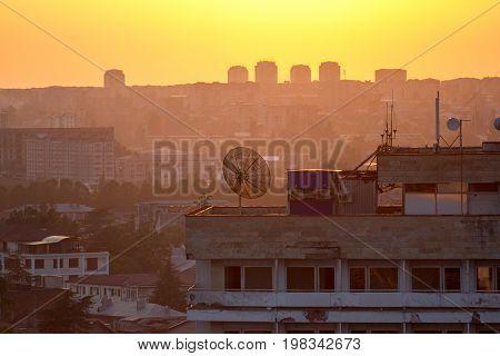 Crimson evening summer sunset, Sukhum, Abkhazia, Georgia