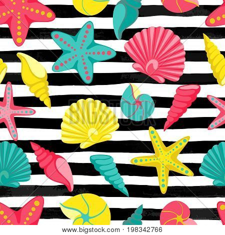 Seashell seamless pattern on black and white watercolor stripes. design for holiday greeting card and invitation of seasonal summer holidays summer beach parties tourism and travel