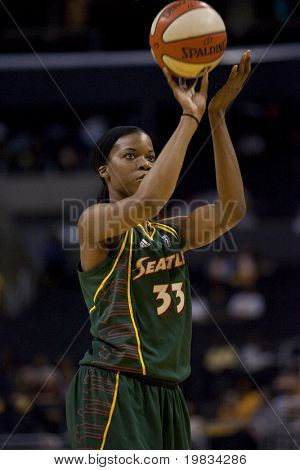 LOS ANGELES, CA. - SEPTEMBER 16: Janell Burse taking a shot during the WNBA playoff game of the Sparks vs. Storm on September 16, 2009 in Los Angeles.