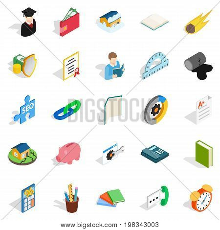 Chemistry icons set. Isometric set of 25 chemistry vector icons for web isolated on white background