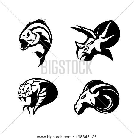 Furious piranha, ram, snake and dinosaur head sport vector logo concept set isolated on white background.  Modern team mascot badge design. Premium quality wild animal t-shirt tee print illustration.