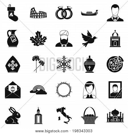 Church icons set. Simple set of 25 church vector icons for web isolated on white background