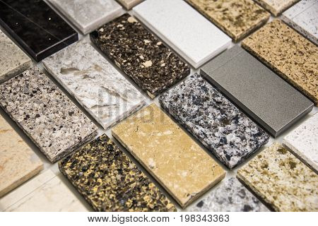 Kitchen countertops. Kitchen counter. Kitchen counter top. Stone countertops made of granite marble and quartz. Kitchencountertops concept. Granite counter color samples.