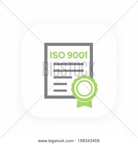 ISO 9001 certificate, vector illustration, eps 10 file, easy to edit